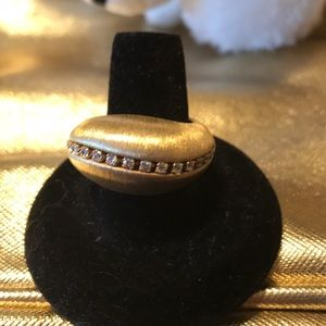 Gold plated, 925 sterling silver ring with cz's